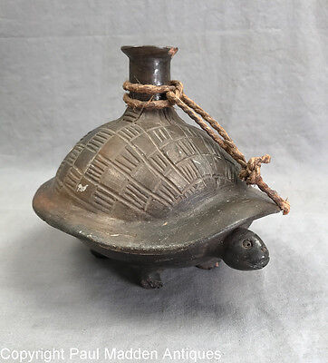 Antique South American Turtle Pottery Bottle