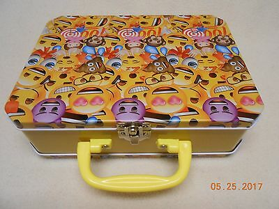 NEW emoji collectible tin lunch box w/ handle & clasp