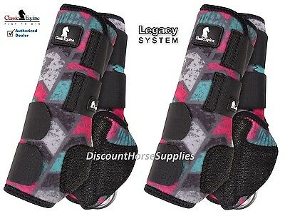 Classic Equine GREY CHEVRON LEGACY SYSTEM Front Hind Value 4 Pack M SMB Boots