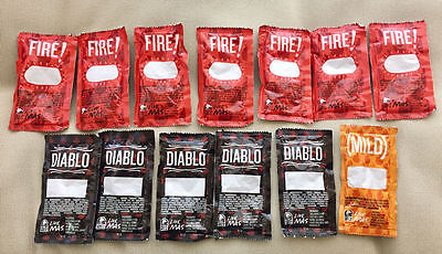 13 Rare Blank Taco Bell Hot Sauce Packets Fire Diablo Mild NEW