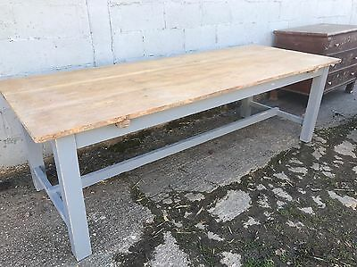 260cm Long, Antique, Oak, French Farm Table, Vintage, Original Paint, Refectory