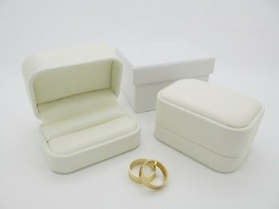 Bride & Groom Luxury White Leatherette Double Wedding Ring Bearer Box
