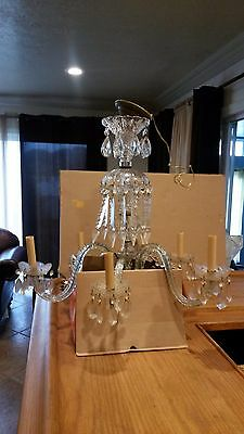 Antique 6 Arms Crystal Chandelier Lamp,all parts are original 1960's.
