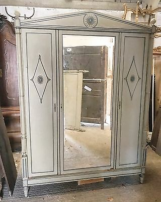 Beautiful, Antique, French 3 Door Armoire & Double Bed, Napoleon, Original Paint