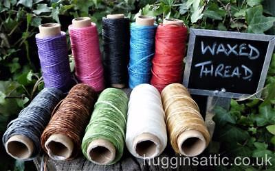 1mm Waxed Thread 50m Bobbins 10 colours available Leather Craft Handicraft DIY