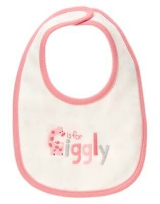 GYMBOREE BRAND NEW BABY GIRAFFE G is for Giggly REVERSIBLE NEWBORN GIRL BIB NWT