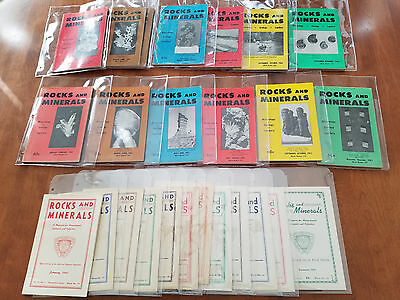Lot of ROCKS AND MINERALS MAGAZINES 1941 1963-64 Complete Sets w Sheaths 3 Years