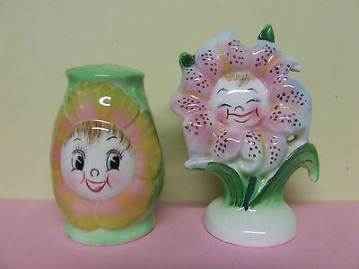 Vintage PY Anthropomorphic Smiley/Giggling Flowers Salt/Pepper Shakers,2 Singles
