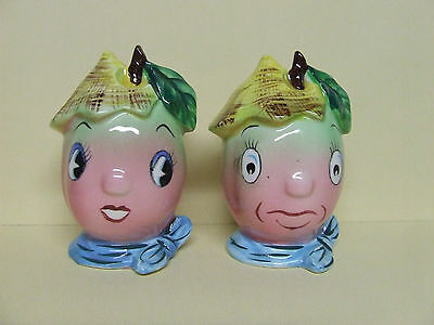 Vintage Anthropomorphic PY Peach Couple w/Hats Salt & Pepper Shakers (Japan)