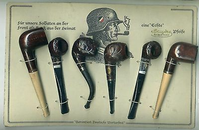 Rare set of German WWII  Smokers Pipes on merchants retail  card  from 1939-45