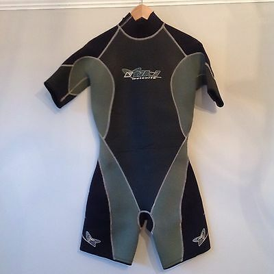 Tiki Mens Wet Suit Size Large Black And Green Short Wetsuit 3:2