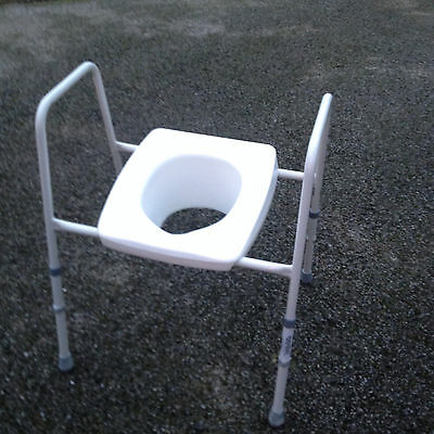 Raised Toilet Seat With Height Adjustable Frame
