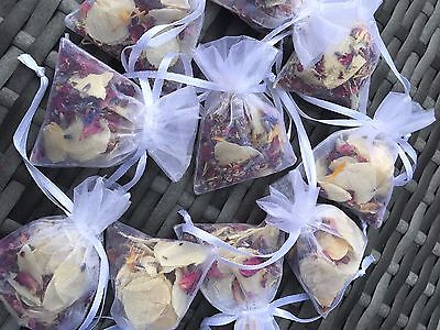 30 x Wedding Petal Confetti Bags. Dried & Biodegradable. Real Flower Decoration