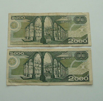 Mexican Bank Notes Two 2000 Pesos Notes 1987 & 1989 Circ F