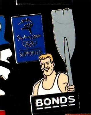 Bonds Man Supporter  Rowing Sydney Olympic Games 2000 Pin Badge