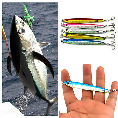 5pcs Casting Jig Metal Slice Deep Sea Hook Fishing Lure Spinning Baits 30g/9.2cm