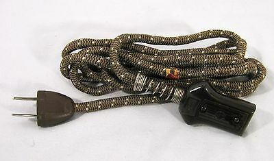 Vintage Brown 2 Prong Cloth-Covered Small Appliance Electrical Power Cord