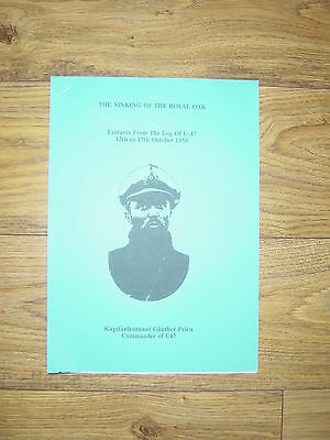 Sinking Of The Royal Oak / U47 / Gunther Prien / Scapa Flow / Booklet