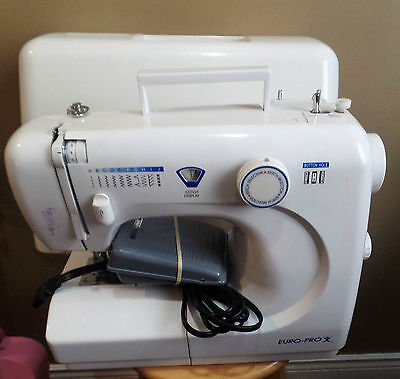 White EURO-PRO Sewing MACHINE with COVER~Fully Functional