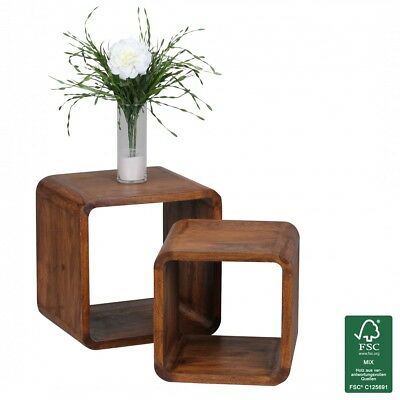 FineBuy Sheesham solid wood side table Nesting tables Set of 2 cube shelf NEW