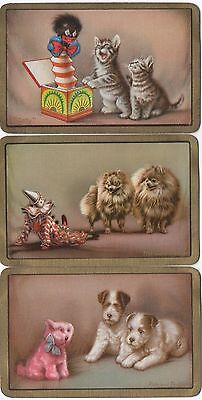 3 Vintage Puppy Dogs Cats Kittens Swap Playing Cards Fun & Frolics Gatecrasher