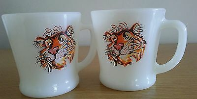 2 Fire King Exxon Esso Gas Station Promotion Tiger Milk Glass Mug Cup Coffee