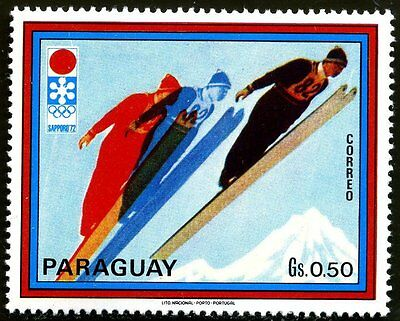 Timbre Poste Neuf Stamp TTB Paraguay Jeux Olympiques Sapporo Ski jumper 1972
