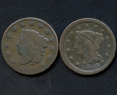 1831 & 1852 United States 1 Cent Coins