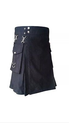 New Party Fun / Work Smart Punk utility kilt With Detachable Pockets 28 30 32 36