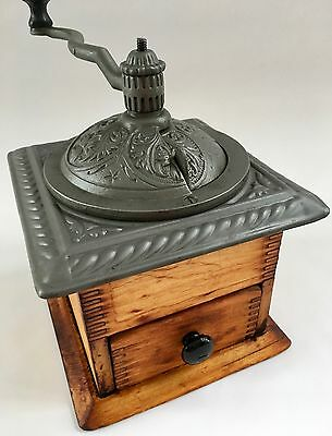 1900 Pristine! Antique American PARKER'S NATIONAL Wood+Metal Coffee Mill/Grinder