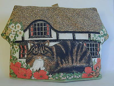 Vintage 80's Large Tudor Thatched Cottage Cats and Poppies Tea Cosy