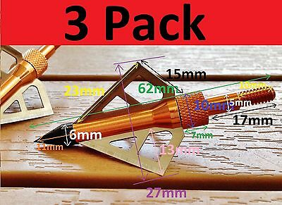 3x Broadheads 100grain Hunting Arrows Recurve Compound Archery Replaceable Tips