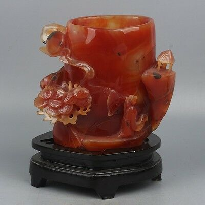 China Exquisite Hand-carved Old man flower carving agate Pen holder