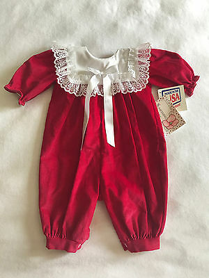Vtg Nwt Something Pretty Baby Girls 0-3 Month Red White Lace Romper Jumpsuit 70'