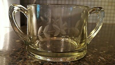 Antique Wheel Cut Etched Crystal Double Handled Sugar Bowl