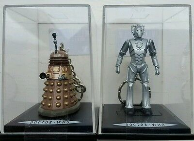 2 x Dr WHO Enamel KEYRINGS : 1 x 3D CYBERMAN (CYBERMEN) and 1 x 3D DALEK