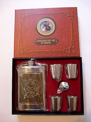 Russian Coat of Arms Stainless Steel  9 oz Flask Gift Set By Guotai