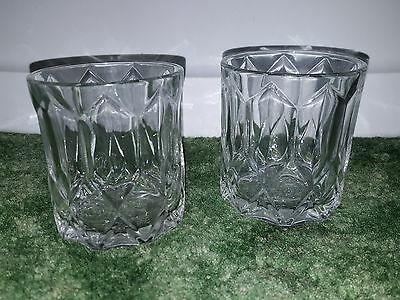 Lot 2 Crown Royal Whiskey Cocktail Faceted Glasses Tumbler Embossed Logo Bottom