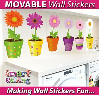 Flower Pots Movable Wall Stickers