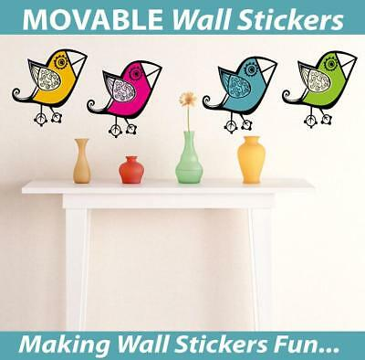 Retro Birds Movable Wall Stickers