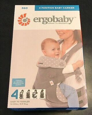 Ergobaby Four Position 360 Infant Child Baby Carrier Ergo Dewy Grey NEW!!