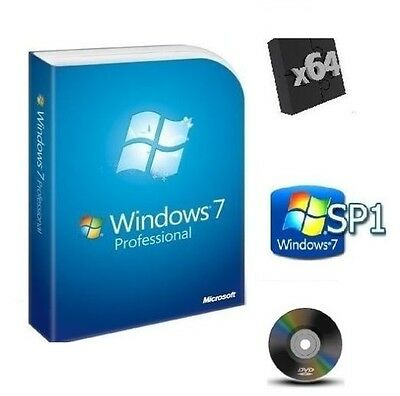 Windows 7 Professional 64-bit SP1 Full Version DVD & License Key Product Install