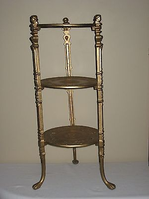 3 Tier Brass Plant Stand Table Claw Foot Victorian Hollywood Regency Ornate