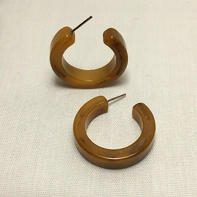 "Vintage Genuine Bakelite Hoop Earrings 1"" Butterscotch Banana Marble Pierced"
