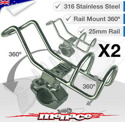 2 x 316 Stainless Steel Rail Mount Rod Holder Double Wire Fishing Boat Kayak