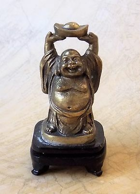 Vintage Cast Brass 7cm Tall Happy Standing Buddha Figurine On Plinth