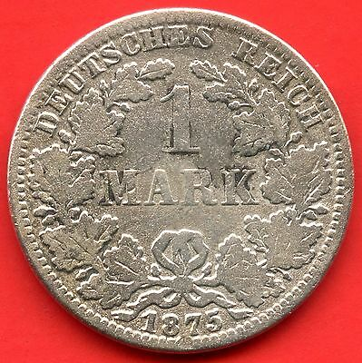 Germany 1875 'A' 1 Mark Coin ( 5.55 Grams .900 Silver )
