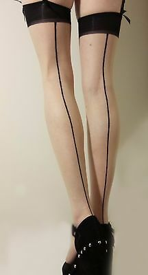 Ultra Sheer Classic Pinup Style Seamed Stockings Petite size Translucent Tan