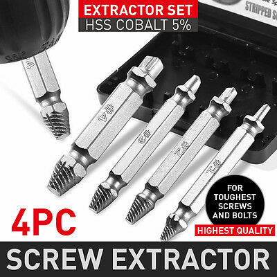 4pcs Damaged Screw Extractor Bolt Remover Speed Out Tool Drill Bits Set AU POST