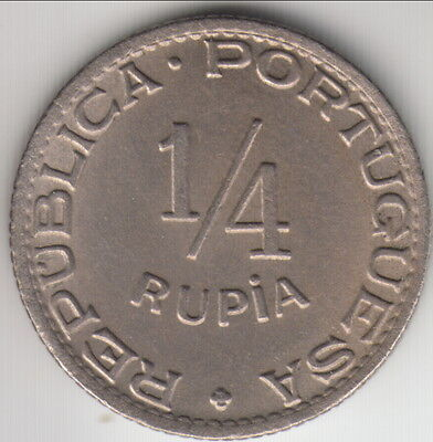 1947 Portuguese India 1/4 rupia, high grade and scarce, KM-25